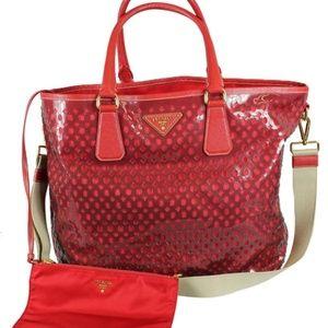 Prada Plex Fori Leather W/ Pouch Red Tote Bag